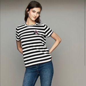 Maje M embroidered black and white stripe tee